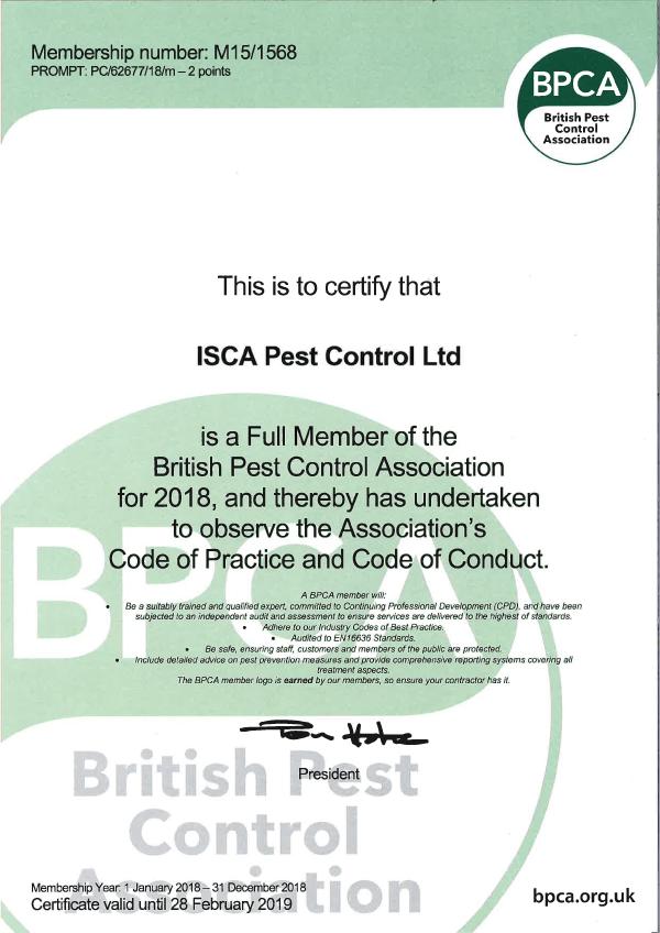 Isca Pest Control BPCA Certificate - Download PDF