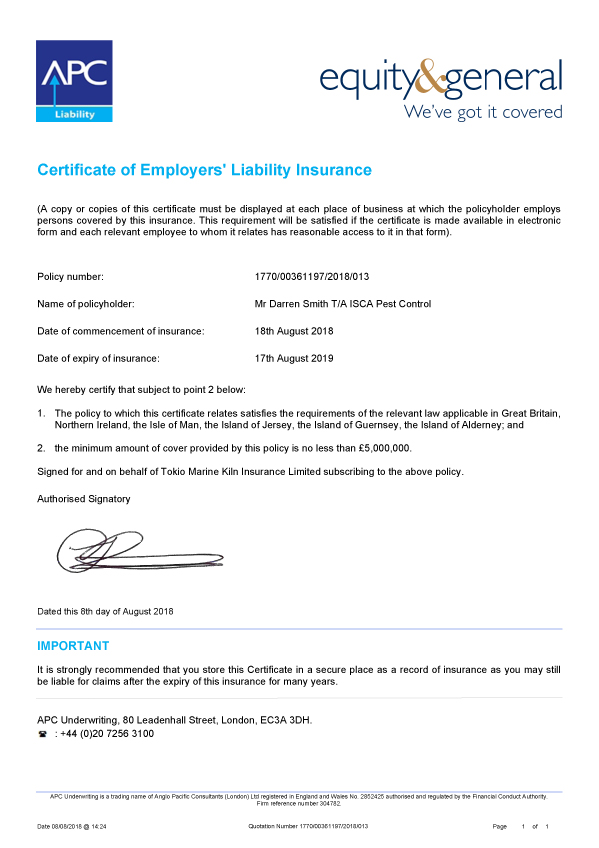 Isca Pest Control Verification of Insurance Certificate 2018-2019