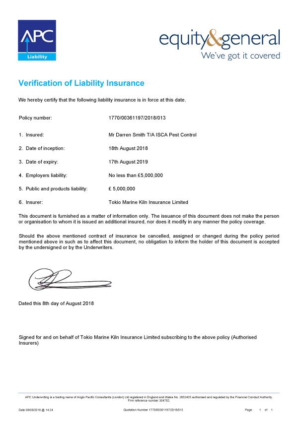 Isca Pest Control Public Liability Insurance Certificate 2018-2019