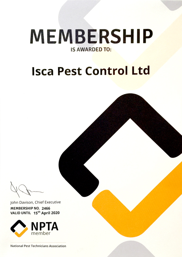 Isca Pest Control NPTA Certificate - Download PDF