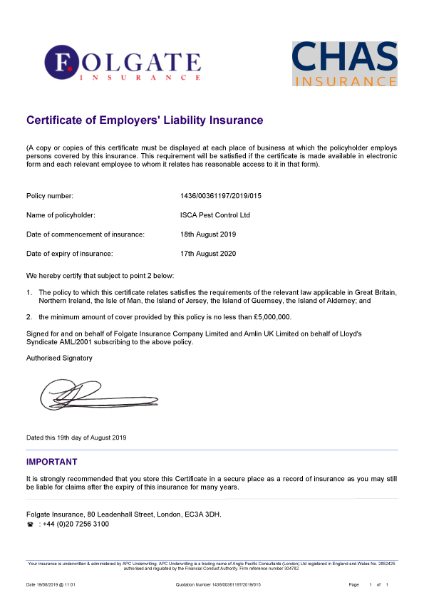 Isca Pest Control Verification of Insurance Certificate 2019-2020