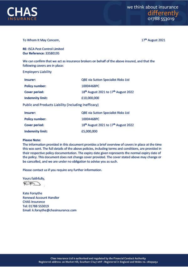 Isca Pest Control Public Liability Insurance Certificate 2019-2020